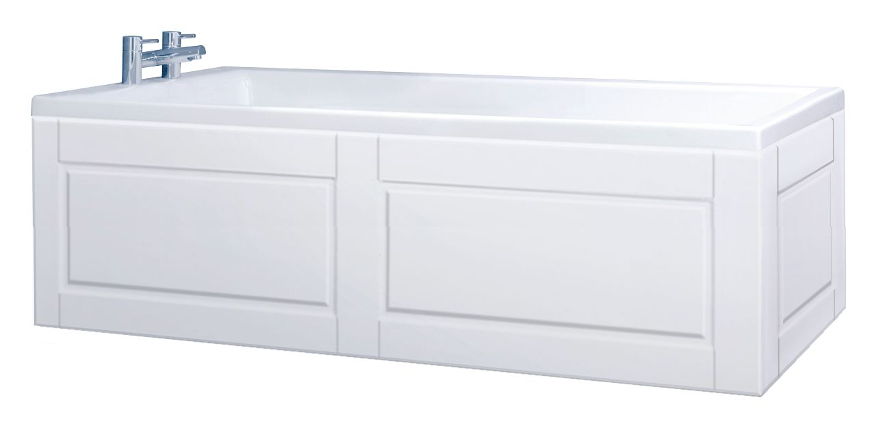 Custom made high gloss white bath panel all styles for Storage bath panel