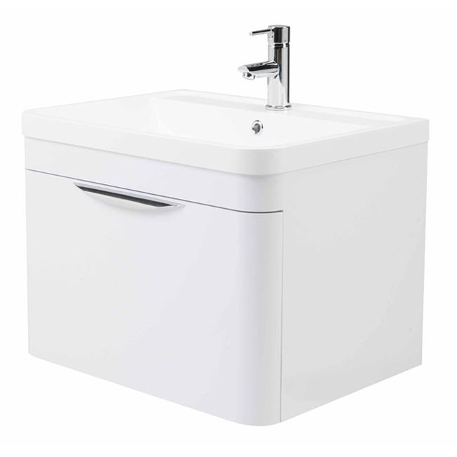 High gloss white curved 600mm 1 draw wall mounted vanity unit - High gloss bathroom vanity units ...
