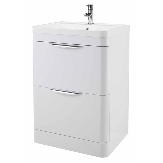 High Gloss White Curved 600mm 2 Draw Floor Standing Vanity