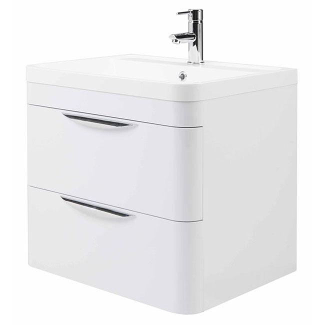 High Gloss White Curved 600mm 2 Draw Wall Mounted Vanity Unit