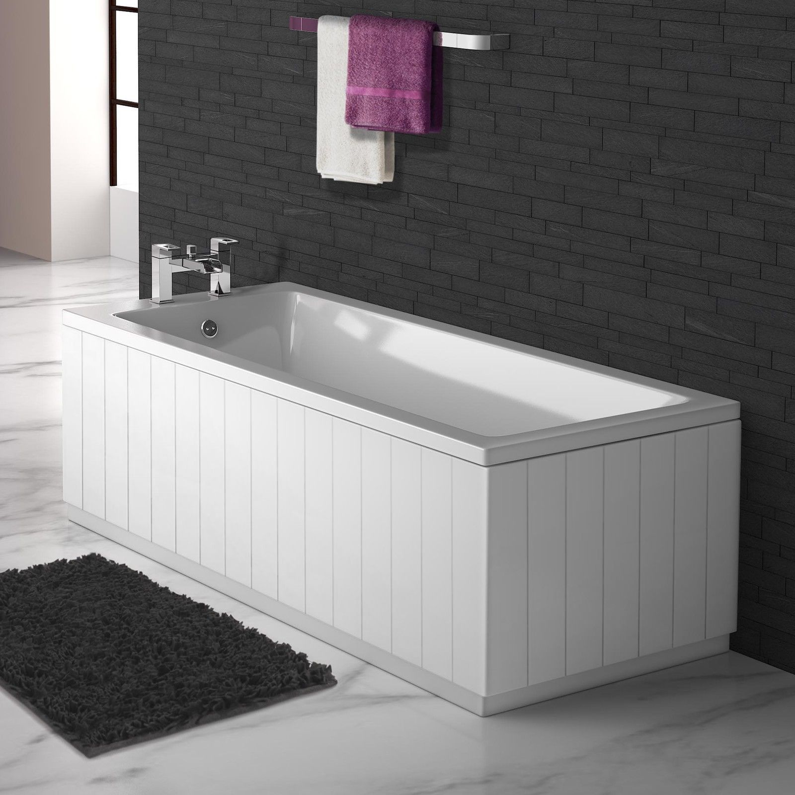 Tongue And Groove Matt White 2 Piece Adjustable Bath Panels