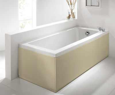 Commercial Grade High Gloss Cream 2 Piece adjustable Bath Panels