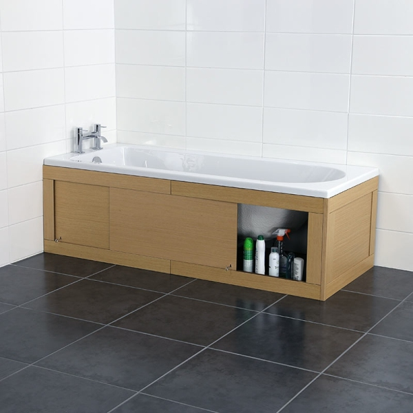 Croydex Unfold N Fit Light Wood Bath Panel With Lockable Storage Light Oak