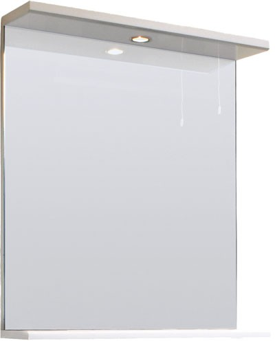 high gloss white 650mm mirror with shelf 21540