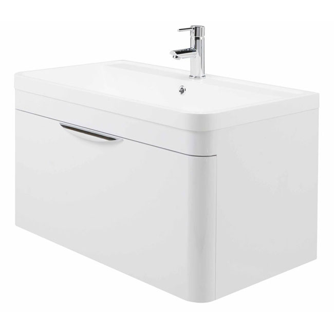 High gloss white curved 800mm 1 draw wall mounted vanity unit for Bathroom cabinets 800mm high