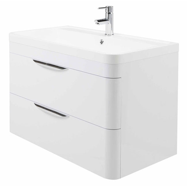 High gloss white curved 800mm 2 draw wall mounted vanity unit for Bathroom cabinets 800mm high