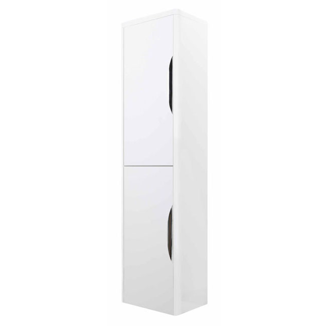 High Gloss White Curved Tall Wall Mounted Cupboard