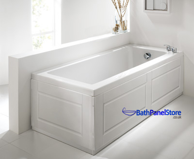 High gloss white extra height bath panels for 1800mm high shower door