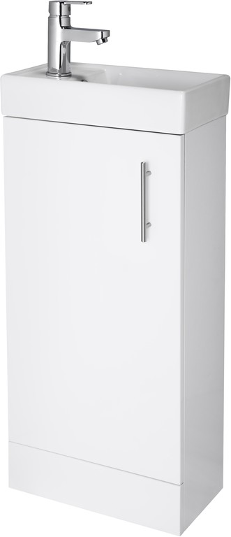 High Gloss White Minimalist Compact Cabinet and Basin