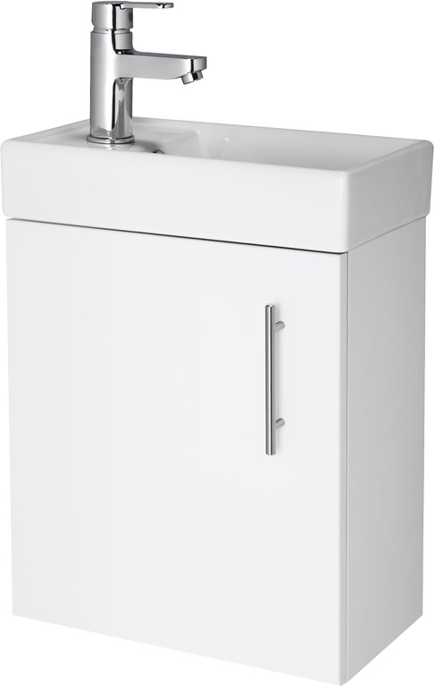 High Gloss White Wall Hung Compact Cabinet and Basin