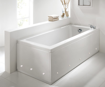 Luxury Matt White 2 Piece adjustable Bath Panels with LED Lights