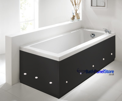 Matt Black 2 Piece adjustable Bath Panels with LED Lights