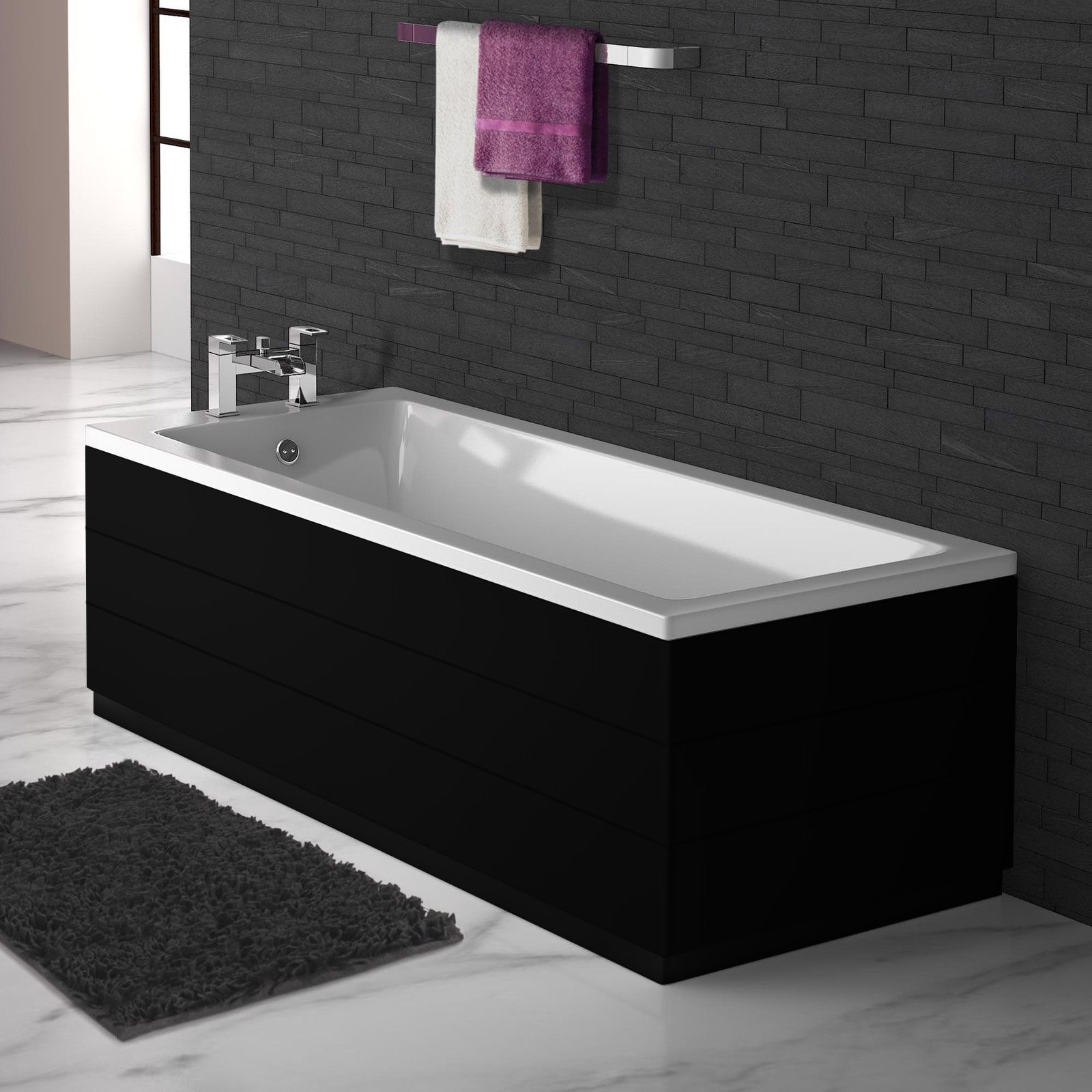 Planked High Gloss Black 2 Piece adjustable Bath Panels