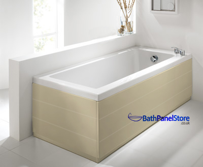 Planked Style Gloss Cream 1 Piece Bath Panels