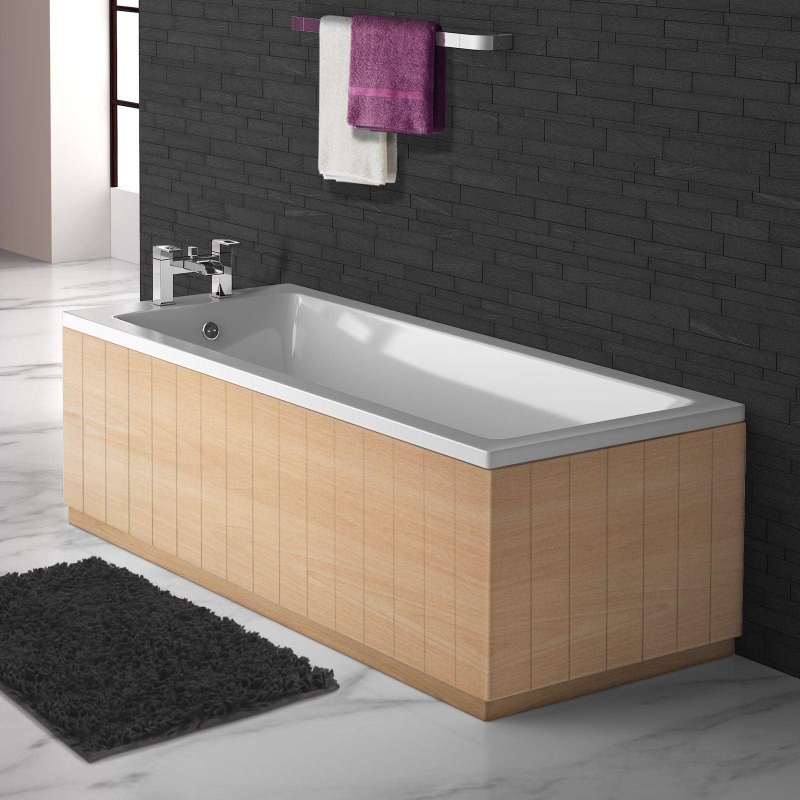 Tongue and Groove Beech 2 Piece adjustable Bath Panels