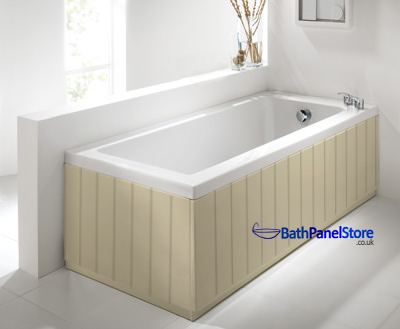 Tongue and Groove Style Gloss Cream 2 Piece Bath Panels