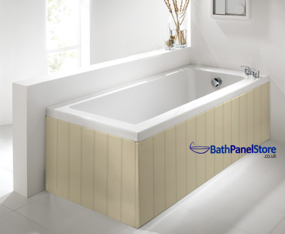 Tongue and Groove Style Matt Cream 1 Piece Bath Panels